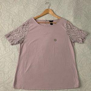 Ann Taylor pale lavender lace sleeve shirt